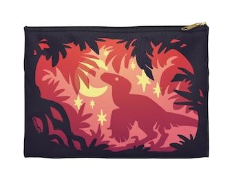 Stargazing Dino (red) Zipper Pouch - Choose size, Pencil Case, Makeup Bag, Art Supplies Holder, Bag Organizer, Dinosaur, Velociraptor