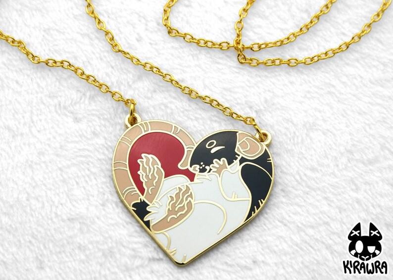 Heart Rat Necklace  Rats Hard Enamel Cute Heartrat Hood image 0