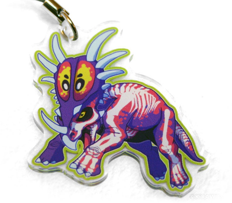 Radioactive Styracosaurus Acrylic Charm  Dino Dinosaur image 0