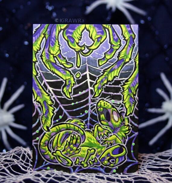 Handmade Halloween ATC Original ACEO Double Double Toil /'n Trouble Rat Art Drawtober October OOAK Card Traditional Inktober