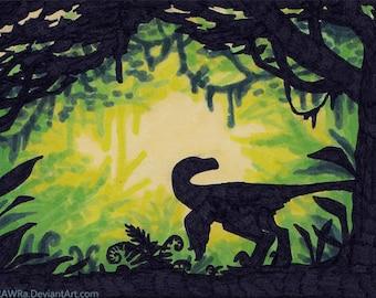 "Original ACEO ""Jungle Raptor"" - Art, Card, ATC, OOAK, Traditional, Handmade, Marker, Dino, Dinosaur, Velociraptor, Green, Jurassic, Forest"