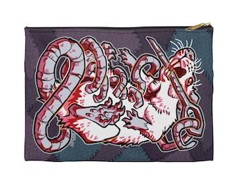 Stitched Rat Zipper Pouch - Choose size, Pencil Case, Makeup Bag, Art Supplies Holder, Bag Organizer, Lab, Labrat, Halloween, Horror, Gore