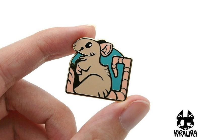 Pet Rat Pin  Pun Rats Hard Enamel Funny Cute Pets Fancy Gold image 0