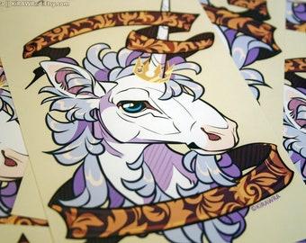 Filigree Unicorn Glossy 4x6 Art Print - Photo, Heraldic, Heraldry, Mythical, Mythology, Unicorns, Horse, Animal, Fantasy, Medieval, Artwork