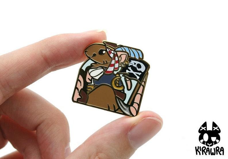 PiRATe Pin  Pun Rats Hard Enamel Funny Cute Pets Fancy Gold image 0