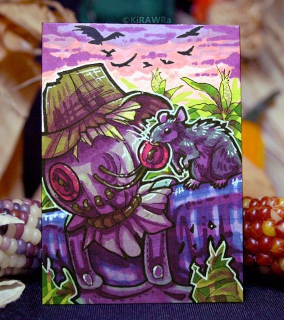 Art Rat Original ACEO Shackled Wraith Drawtober OOAK ATC Card Marker Swarm Halloween October Traditional Plague Inktober