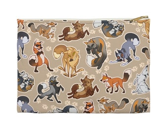 Playful Foxes Zipper Pouch - Choose size, Pencil Case, Makeup Bag, Art Supplies Holder, Bag Organizer, Cute, Fun, Animals, Dancing, Vulpes