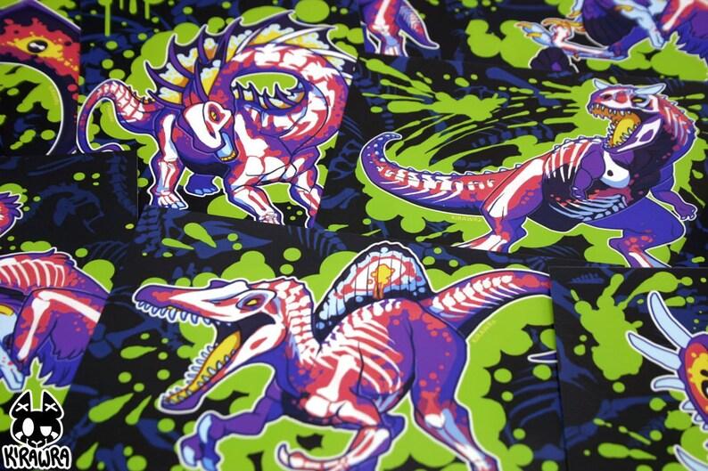 Rad Dinos Glossy 4x6 Art Print  Photo Raptor Velociraptor image 0