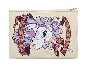 Filigree Unicorn Zipper Pouch - Choose size, Pencil Case, Makeup Bag, Art Supplies Holder, Bag Organizer, Heraldry, Mythology, Fantasy