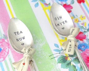 Tea Now... Gin Later  Vintage Spoons.