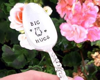 Big Bear Hugs Vintage Spoon, Hand Stamped Gift, Engraved Spoon