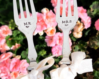 Mr & Mrs Wedding Forks,  1929 Hallmarked Silver Handles, Wedding Gift, Husband and Wife, Marriage