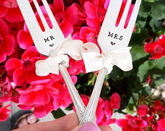 Mr & Mrs Vintage Cake Forks
