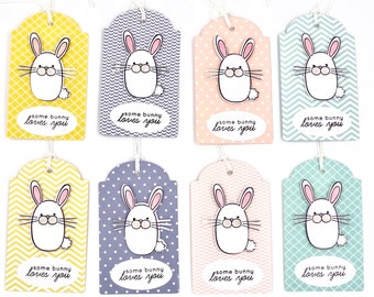 Easter Gift Tags, Easter Bunny Tags, Happy Easter, Spring Gift Tags, Easter Favor Gift Tags, Somebody Loves You, Present, Handmade Gift Tags