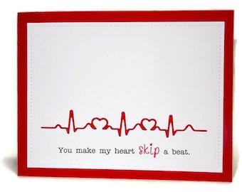 Anniversary Card Birthday Heartbeat Heart Skip A Beat Doctor Nurse Medical Field Valentine Handmade Greeting