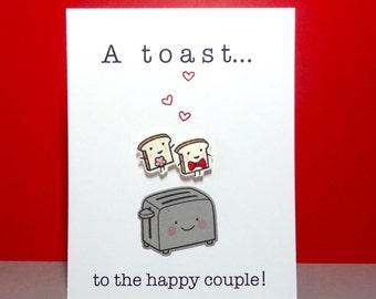 Wedding Card, Engagement Card, Funny Wedding Card, Congratulations, Bridal shower, Wedding Shower, Wedding Toast, Food Pun, Handmade Card