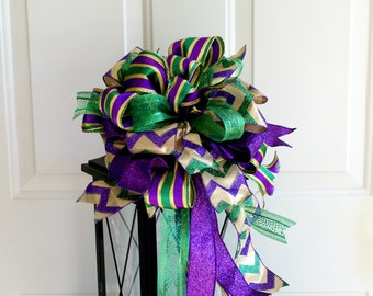 Mardi Gras Swag Bow Decor, Purple Green Gold Mardi Gras Bow, Mardi Gras Wreath Bow, Mardi Gras Lantern Bow, Mardi Gras Door Decor