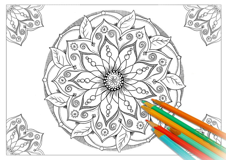 Adult Mandala Coloring Page Printable Mandala Coloring Sheet Etsy