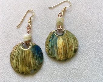 Polymer clay disc with shell heishi beads dangle earrings.