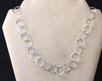 Sterling Silver forged peanut linked chain