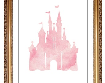 pink cinderella castle print water color wall art castle picture nursery decor