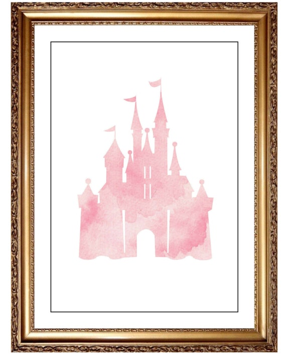 Pink Cinderella Castle Print Water Color Wall Art Castle | Etsy