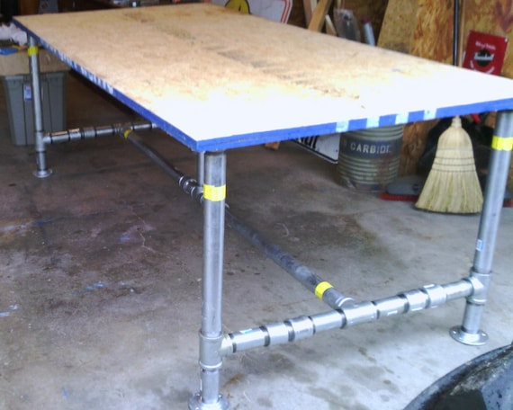 industrial table vintage workbench craft pipe galvanized work etsy
