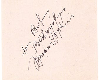 Miriam Hopkins 1930's Vintage Autographed Hand Signed Paper Cut Signature Autograph Hollywood Film Movie