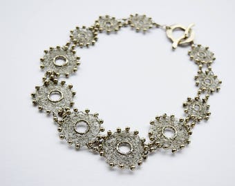 Hand knit necklace, Silver plated wire, metal spheres, textile jewelry, Sanae Ogura