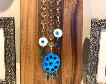 "Crystal Suncatcher Glass Hamsa Hand Evil Eye Protection wall decor hanging Rainbow  Maker 14"" Blue Peppers Sun Catcher"