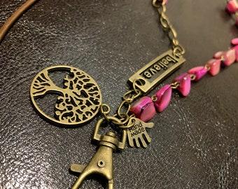 "Customized Handmade EyeGlass Necklace Irregular Pink Sea Shell Beads Bronze tone Chain Lanyard Badge ID Holder Lanyard Keys holder 32""-36"""