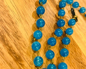 """Eyeglasses Glasses Natural Heavy Blue Jade beads with Bronze tone Chain 32"""" length for Women Mother Grandmother sister Gift Customized"""