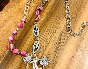 "Customized Owl Sea Shell Lanyard Handmade Necklace Irregular Pink Sea Shell Beads Silver tone Chain Badge ID Holder Keys holder 32""-36"""