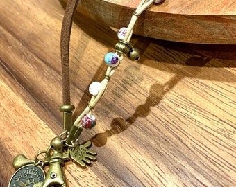 """Brown Faux leather Lanyard porcelain beads Necklace Bronze tone Chain Keys Badge ID Holder 32""""-36"""" customized letter Sagittarius Zodiac Sign"""