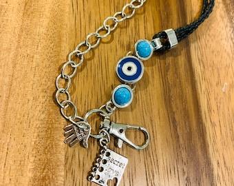 "Blessed Eye Lanyard Eyeglasses Necklace Silver tone Chain Lanyard Badge ID Holder Keys badge holder 32""-36"" Secret Love charm customized"