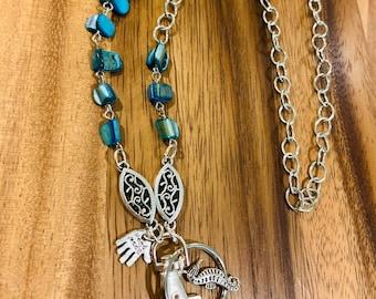 "Sea shells Lanyard Irregular Blue Sea Shell Eyeglasses Necklace Beads Silver tone Chain Badge ID Holder Keys holder 32""-36"""