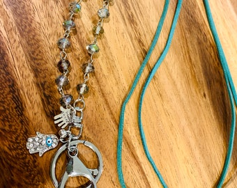 """Turquoise Double Faux Leather Lanyard Gray transparent Glass bead Necklace silver tone Chain Keys Badge ID Holder 32""""-36"""" hamsa blessed hand"""