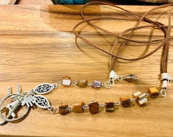 "Handmade Sea Shells Lanyard Irregular Cocoa Beads Silver tone Chain Lanyard Badge ID Holder Keys holder 32""-36"" Customized Good Luck"
