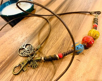 """Tree of Life Lanyard Brown cowhide cord leather porcelain beads Necklace Glass Bronze tone Chain Customized Badge Keys ID Holder  32""""-36"""""""