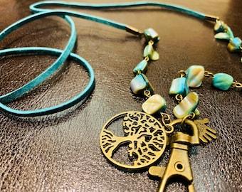 "Tree of Life Lanyard Irregular Turquoise Sea Shell Eyeglasses Necklace Bronze tone Chain Badge ID Holder Keys holder 32""-36"" Handmade"
