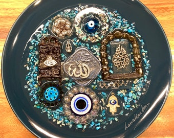 Allah Islam Arabic Decorative Plate with Resin Authentic Handmade Iraqi Art Traditional Blessed Eyes on Porcelain Fancy Wall Decor Hanging