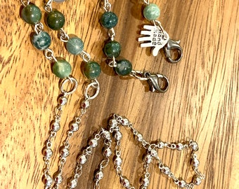 """Green Natural Indian Agate Stone Customized Face mask chain holder Natural beads Silver tone Chain for Women Friend Grandmother Gift 30"""""""