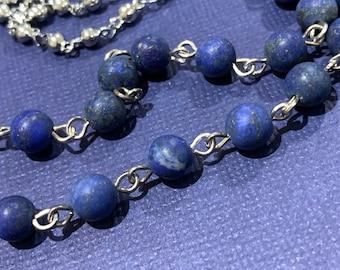 Mask chain Holder Blue natural Lapis Lazuli Matte stone Beads Eyeglasses Silver Tone Mother Grandma sister Gift Handmade customized