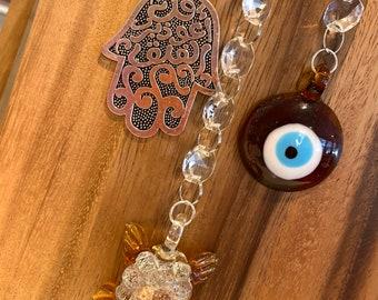 "Crystal Suncatcher Glass Islam Quran Sura Hamsa Hand Blue Evil Eye Protection wall decor hanging Rainbow Maker 14"" brown Yellow Sun Catcher"