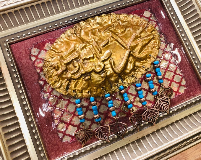 Featured listing image: Prophet Mohammed Mixed Media Framed Art, 3D Muslim Design Wall Hanging, Islamic Art Home Décor, Copper Art in Frame Religious Art