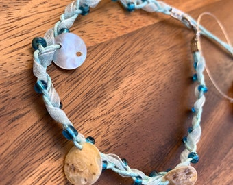 """Ankle Bracelet Anklet Handmade Blue Braided with blue beads and shell accent beads 10"""" long"""