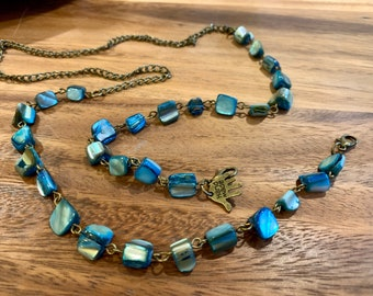 "Irregular Turquoise Blue Sea Shell Face mask Chain Holder Eyeglasses Necklace Bronze tone Chain Handmade 31"""