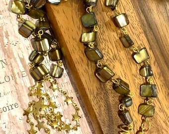 """Irregular Green Brown Sea Shell Face mask Chain Holder Eyeglasses Necklace Gold tone with Stars Chain Handmade 30"""""""