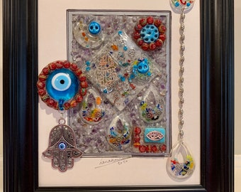 """Blessed eye 3D picture Hamsa Eyes Decorative Framed Picture Mixed Media About 13"""" x 11"""" Arabic Decor Iraqi Art Housewarming Gift"""