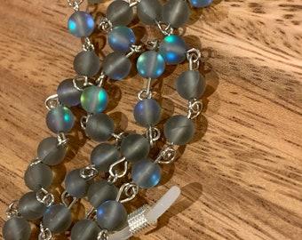 Eyeglasses Sunglasses Holder Blue natural Moon stone Beads Glasses Silver Tone Eyeglasses Mother Grandma sister Gift Handmade customized